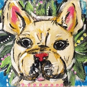 Other - Hand painted Frenchie Bulldog shelf art canvas